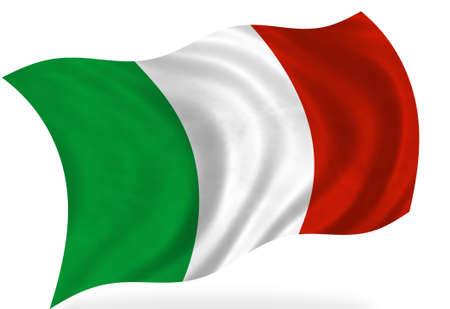 Italian flag, isolated photo