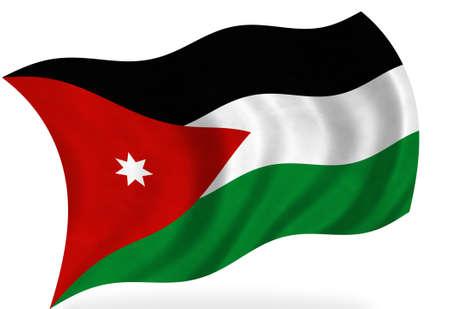 Vlag van Jordanië, geïsoleerd  Stockfoto