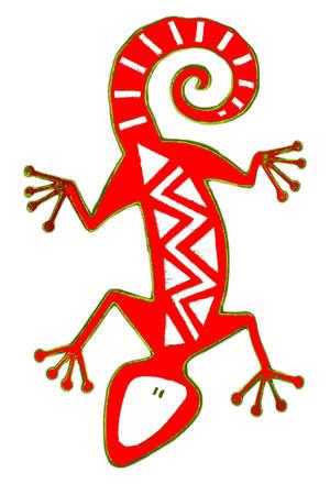 salamandra: Reptil abstracta, aislado.