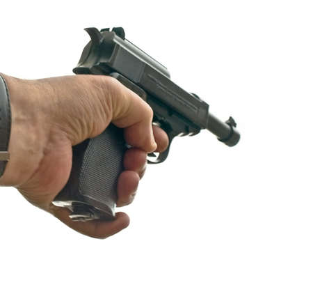 luger: hand with pistol