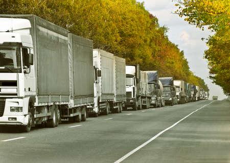 trucks caravan Stock Photo