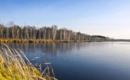 wintry: wintry landscape, frozen lake Stock Photo