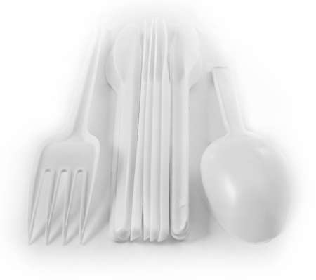 disposable: kit of plastic tablecovers Stock Photo