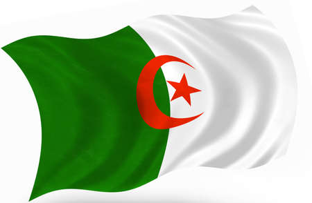 3d flag of Algeria photo