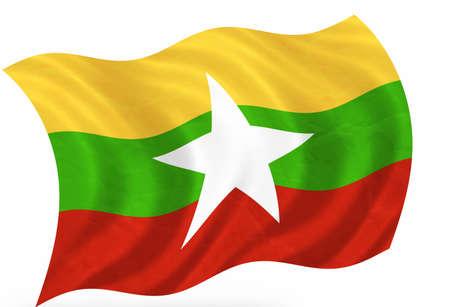 3d flag of Mianmar (Birma) photo
