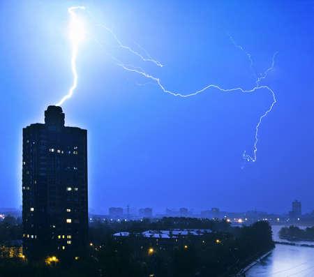the lightning striking to lone tower Stock Photo - 13568006