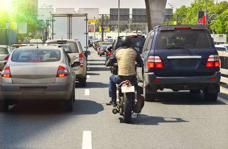 motorcyclist: city traffic  Stock Photo