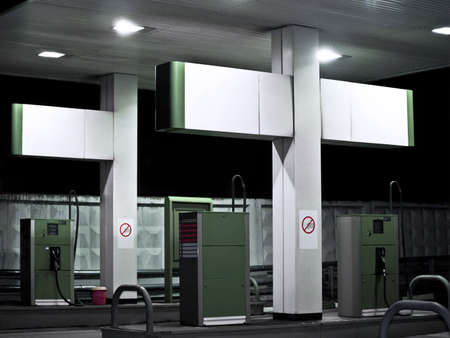 vacant: Gas station at night  Stock Photo
