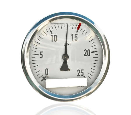 pressure gauge: manometer, isolated Stock Photo