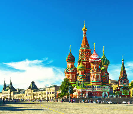 kremlin: Saint Basils cathedral; Moscow, Russia Stock Photo