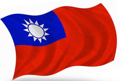 flapping: flag of Taiwan, isolated   Stock Photo