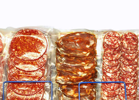 provisions: packed cut salami sausages