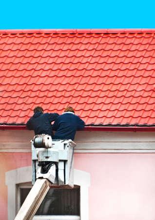 linemen: workers Stock Photo