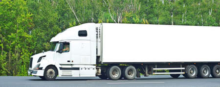 conventional: white liner truck