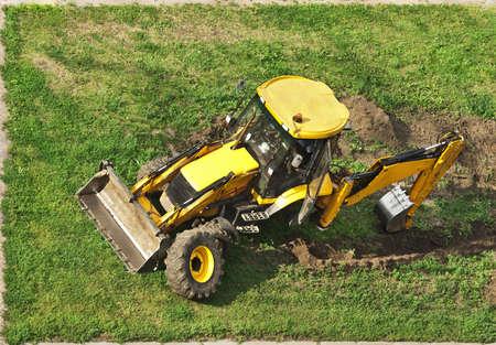 accident de travail: tracteur sans roues Banque d'images