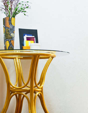 rattan table with vase
