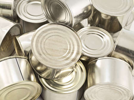 canned meat: canned products Stock Photo
