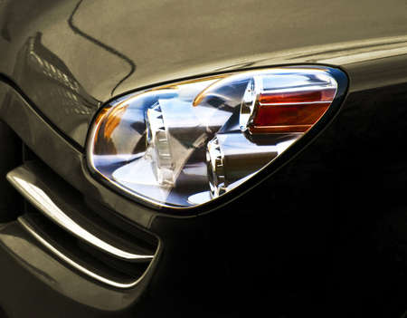 halogen lighting: car head-optics Stock Photo