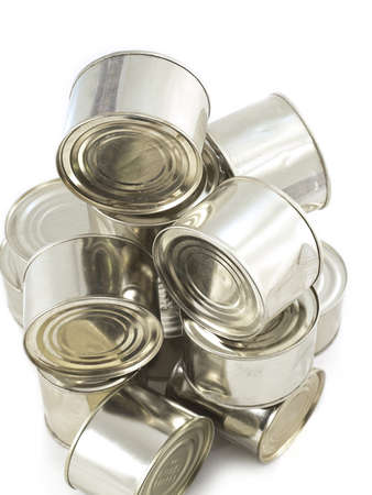 humanitarian aid: canned products Stock Photo