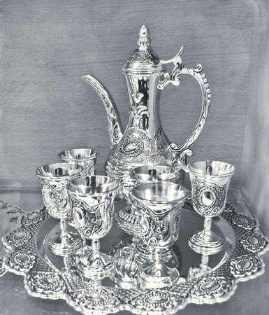 silver tray: antique wine set Stock Photo