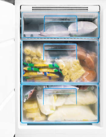 icebox: products in freezer Stock Photo
