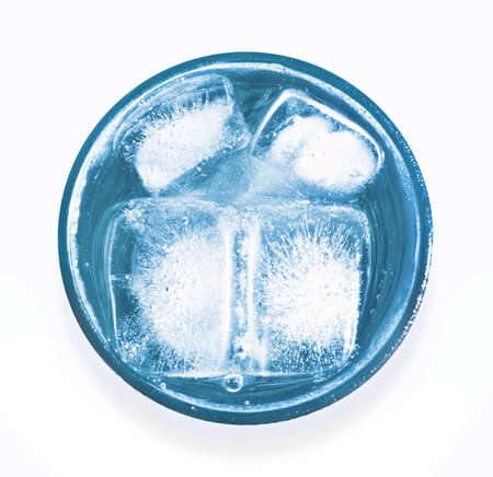 pellucid: glass of icy water Stock Photo