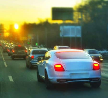 sportcar: sport-car at urban sunset Stock Photo