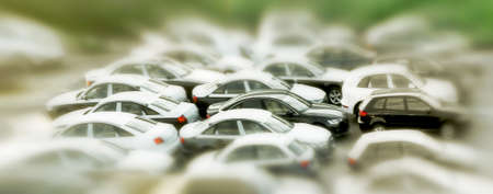 cars, tilt-shift photo