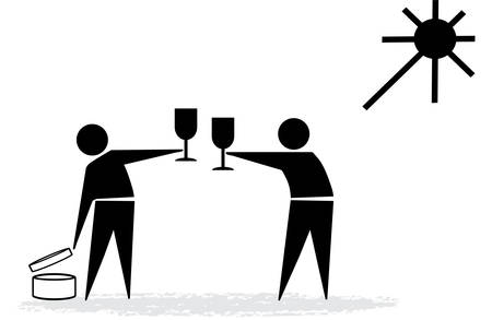 proposing a toast: life of famous symbols Illustration