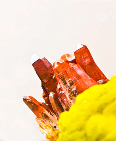 ferrous: ferrous crystal-quartz on sulphur Stock Photo