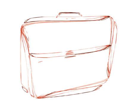 keyline: leather briefcase, sketch Illustration
