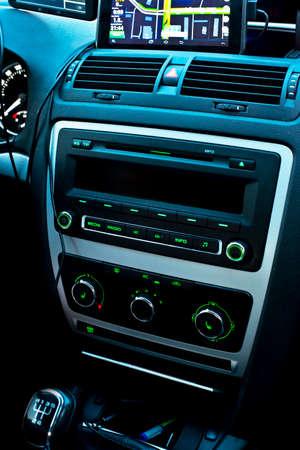 car audio: car audio system dashboard Stock Photo