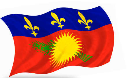 3D flag of Guadeloupe  french colony  Stock Photo - 27806987