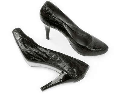 high heeled: leather high heeled shoes Stock Photo