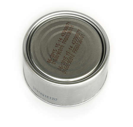 tinned: codes on the tinned food Stock Photo