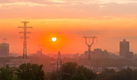 voltages: urban sunset Stock Photo