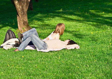 girls on grass photo