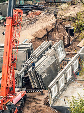 prefabricated: mobile crane in construction site