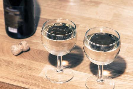 solemnity: bicchieri di champagne Archivio Fotografico
