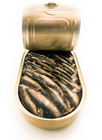 canned meat: Sprats canned Stock Photo