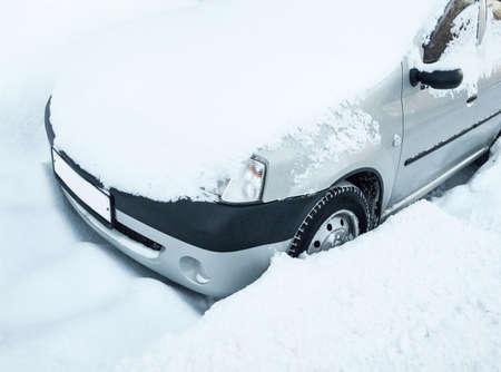 wintery snowy: snowy car
