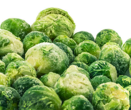 mass storage: frozen brussels sprouts Stock Photo