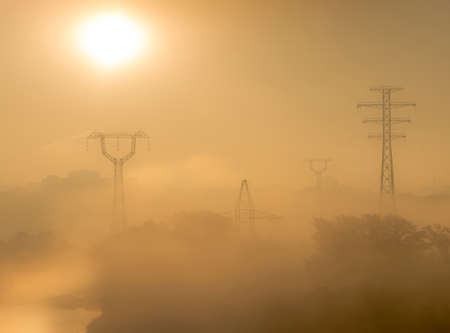 voltages: urban foggy sunrise