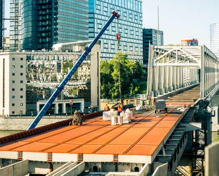 overbridge: roadbuilding in downtown Stock Photo