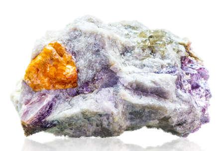 mineralization: Spessartite (Yellow Garnet) Stock Photo