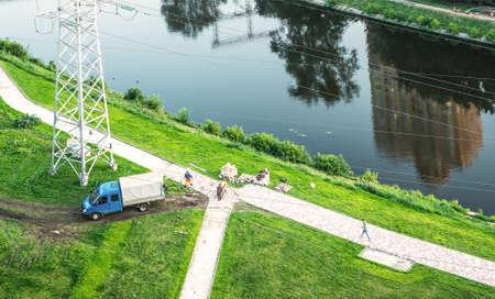 landscaping riverside: town works