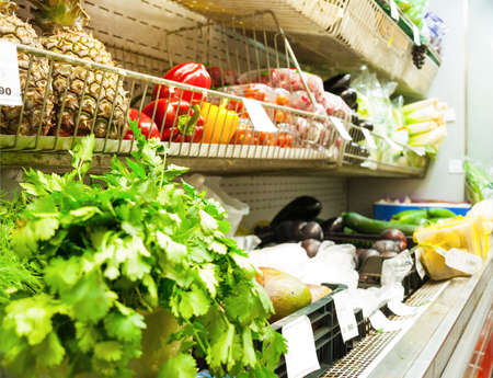 provisions: vegetables in supermarket Stock Photo