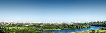 riverside landscaping: Moscow city, panorama Stock Photo