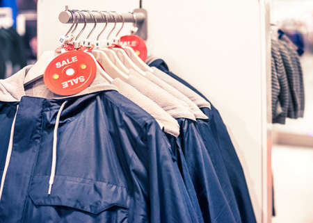 clothing store: coatrack in clothing store