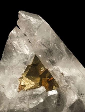 mineralization: aggregate with pirite in crystal quartze Stock Photo